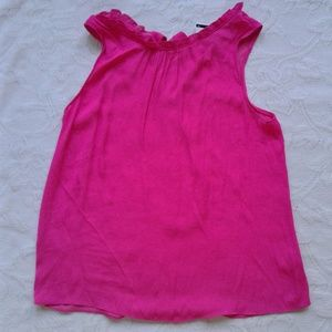 Naked Zebra Top Sleeveless Pink Ruffle Tie Back M